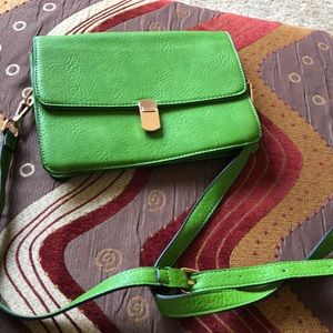 Apple green leather purse